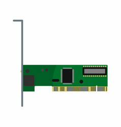 Flat hardware network card icon for repair servic vector