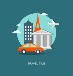 Flat travel banner with urban landscape vector