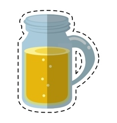 Glass jar drink tasty bubble with cap - dot line vector