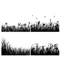 grass silhouettes background set vector image