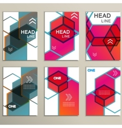 Hexagon infographics set 6 template for vector