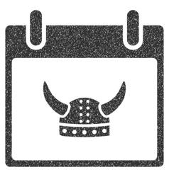 Horned Helmet Calendar Day Grainy Texture Icon vector image