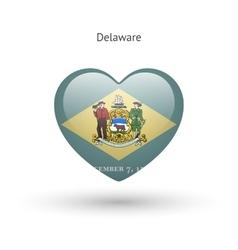 Love delaware state symbol heart flag icon vector
