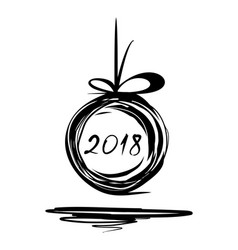 New year 2018 doodle design vector