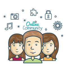 People community online concept with icons media vector