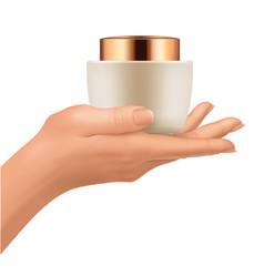plastic jar on hand vector image vector image
