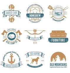 Retro vintage insignias set design vector