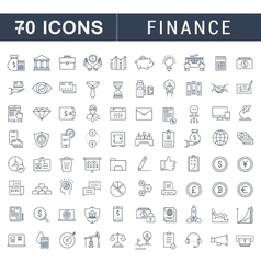 Set flat line icons finance vector