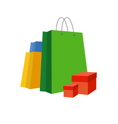 set of simple bright paper shopping bags and boxes vector image