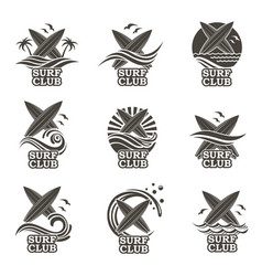 Set of surfing emblems vector