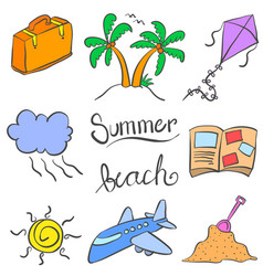 Summer holiday element doodle colorful vector