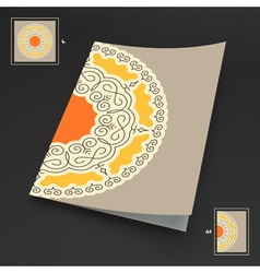 Textbook booklet notebook mockup ethnic mandala vector