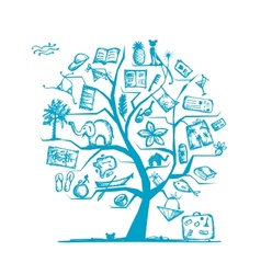 Travel tree concept for your design vector
