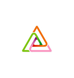 triangle shape connection colored logo vector image vector image