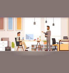 two business man meeting discussing office desk vector image vector image