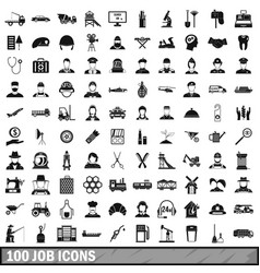 100 job icons set in simple style vector