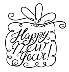 Happy new year lettering with gift vector