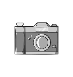 Retro photo camera icon black monochrome style vector