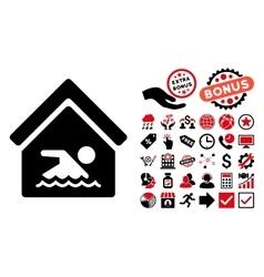 Indoor water pool flat icon with bonus vector
