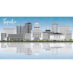 Topeka skyline with gray buildings vector