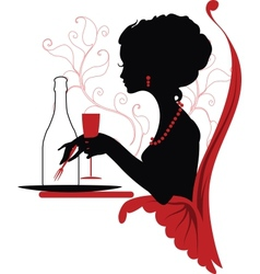 Silhouette of woman relaxing in restaurant vector image