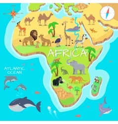Africa mainland cartoon map with fauna species vector