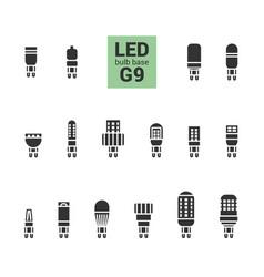 Led light g9 bulbs silhouette icon set vector