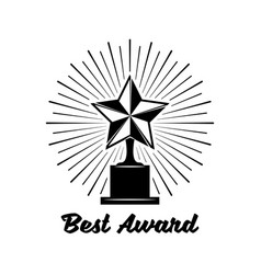 Black trophy awards with star icon isolated on vector