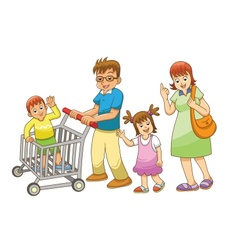Family shopping vector