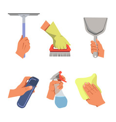Hands holding cleaning tools and products vector