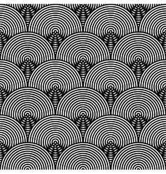 Black and White Psychedelic Circular Textile vector image