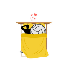 Lover volleyball guy and ball in bed lovers in vector