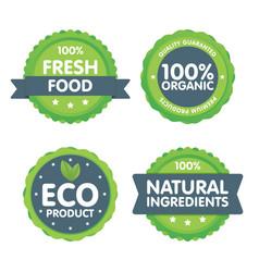 Modern green eco badge set 100 percent organic vector