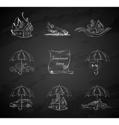 Chalk board insurance security icons vector image