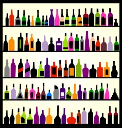 alcohol bottles on the wall vector image