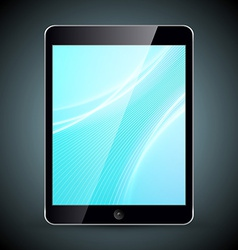 Tablet pc with wallpaper isolated on dark vector