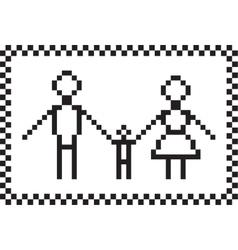 Pixel family set vector image