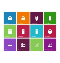 Full and single bed icons on color background vector