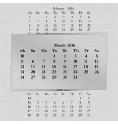 Calendar month for 2016 pages march vector