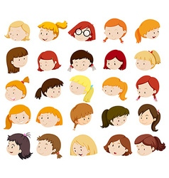 Head of girls with happy feeling vector