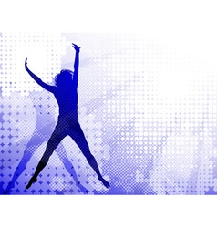 Silhouettes of a jumping girl vector