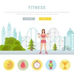 Web banner fitness or bodybuilding vector