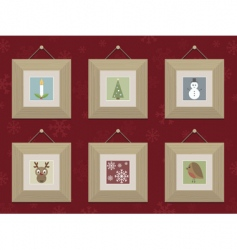 wooden Christmas frames vector image