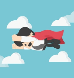 Businessman is flying like superman flying fast on vector