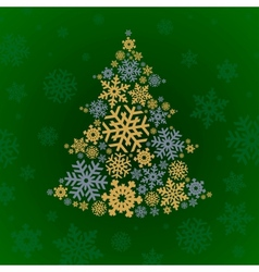 Christmas silver and gold tree on green background vector image