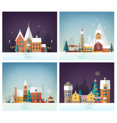 collection of winter cityscapes or urban vector image vector image