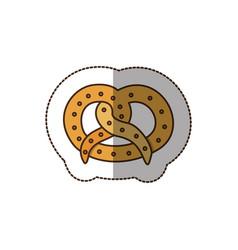Color pretzel bread icon vector