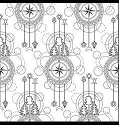 compass seamless pattern vector image vector image