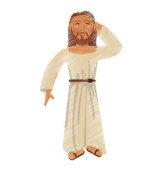 Drawing jesus christ thinking image vector