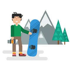 flat guy with snowboard against mountains vector image